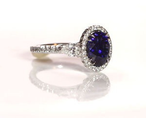 Blue Sapphire with Diamonds