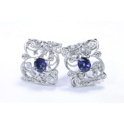 Diamonds & Blue Sapphire Earrings