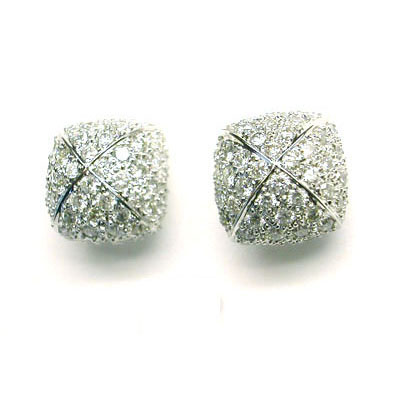 Square Button Shape Earrings Pave Diamond