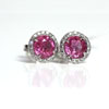 Diamonds with Pink Sapphire Halo Earrings