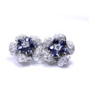 Blue Sapphire & Diamond Flower Shape Earrings