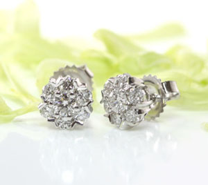 V Prong Diamond Earrings