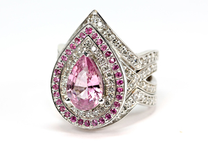 Pink sapphire double halo engagement ring and matching contoured wedding bands