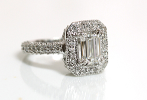 Emerald Cut Diamond Ring in Antique Setting